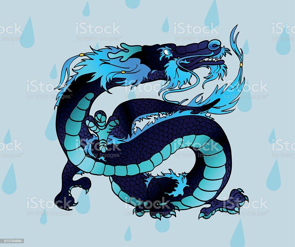 Величественный черно-синей азиатских воды дракона векторная иллюстрация