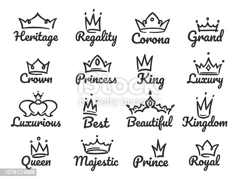 Majestic crown icons. Sketch prince and princess, hand drawn queen sign or king crowns graffiti sketch drawing. Tiara and jewel crown luxury icons vector illustration isolated icons set