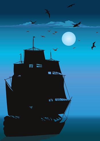 Majestic Pirate Sailing Ship at Sea