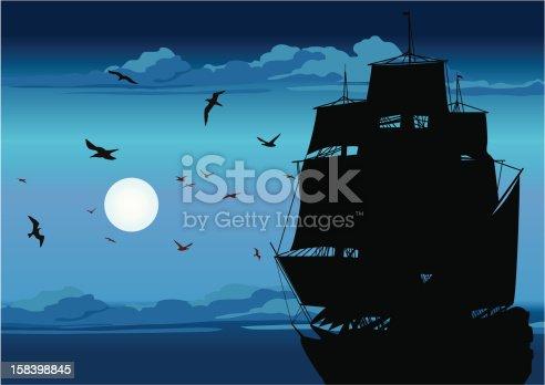 Old Ship Sailing Open Seas on Sunset.