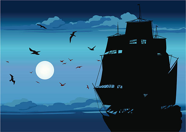 Majestic Pirate Sailing Ship at Sea Old Ship Sailing Open Seas on Sunset.  pirate ship stock illustrations