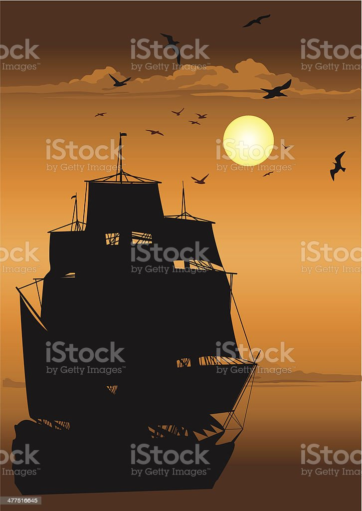 Majestic Pirate Sailing Ship at Sea royalty-free majestic pirate sailing ship at sea stock vector art & more images of adventure