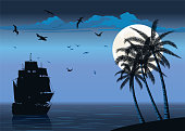 Old Ship Sailing on Sunset with Palm Trees