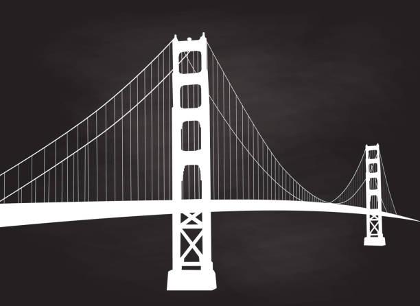 Majestätische Hängebrücke Kreide San Francisco – Vektorgrafik