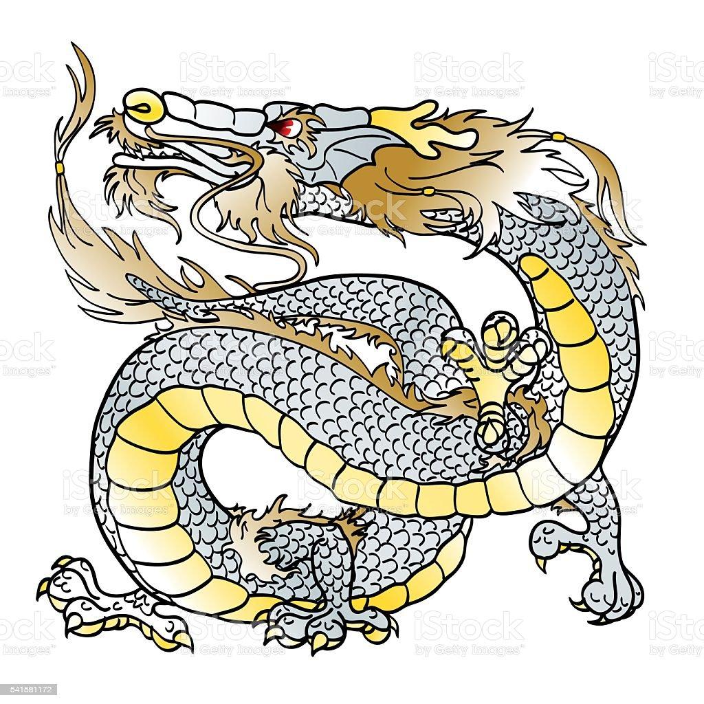 Величественный белый металл азиатские дракон векторная иллюстрация