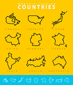 Major Countries map illustration