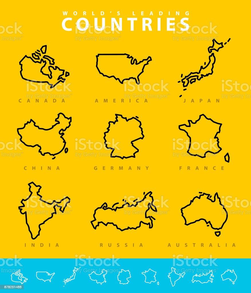 Major Countries map illustration vector art illustration