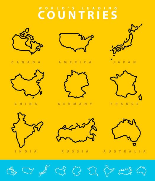 major countries map illustration - china map stock illustrations, clip art, cartoons, & icons