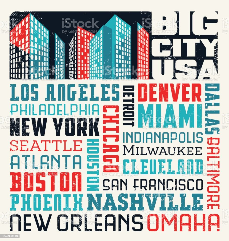 major united states cities word cloud typography design stock vector art more images of