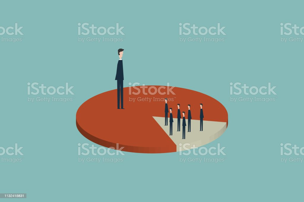 majority of the market share is captured and dominated by one person, while the minority share market is owned by many people.Pareto principle. 80 and 20 percent rules vector art illustration
