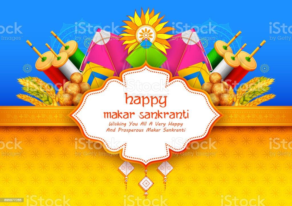 Makar Sankranti wallpaper with colorful kite for festival of India vector art illustration