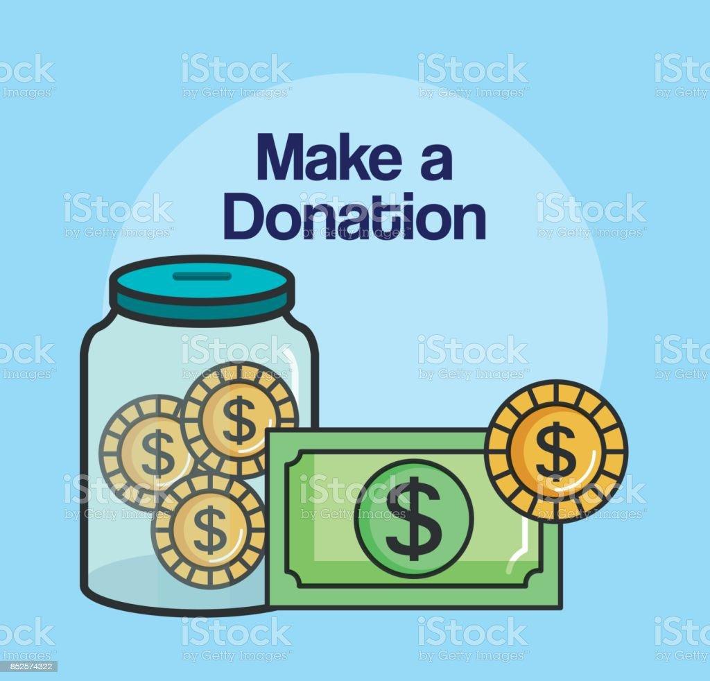 hacer un símbolo de caridad donación muestra envase dinero moneda - ilustración de arte vectorial