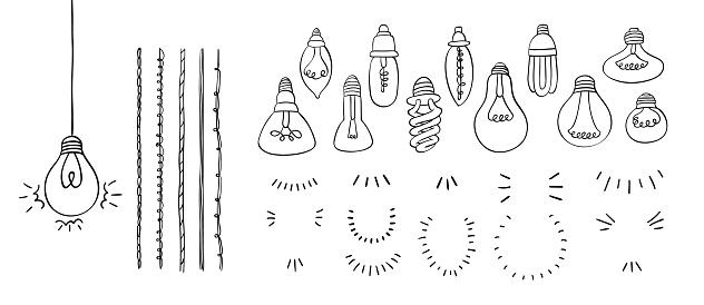 Make a light bulb hand drawn set with bulbs, wires and lighting, concept of idea, doodle style, vector illustration.