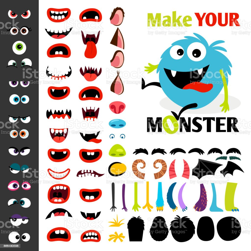 Make a monster icons set vector art illustration