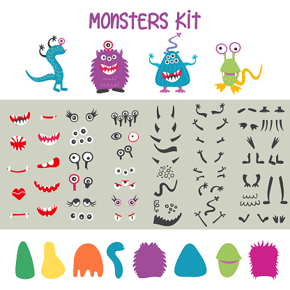 Make a monster icons set, with alient eyes, mouths, ears and horns, wings and hand body parts. Vector illustration