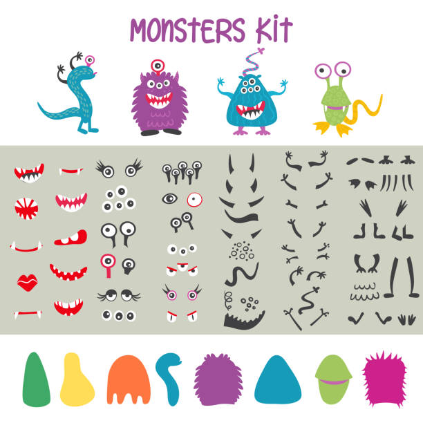 Make a monster icons set, with alient eyes, mouths, ears and horns, wings and hand body parts. Vector illustration Make a monster icons set, with alient eyes, mouths, horns, wings and hand body parts. Vector illustration monster stock illustrations