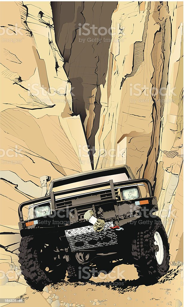 A make believe drawing of a jeep in the Rockies vector art illustration