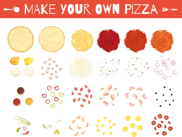 make create pizza set cartoon Set of pizza elements in cartoon style with dough vegetables cheese and meat sauces isolated vector illustration mozzarella stock illustrations