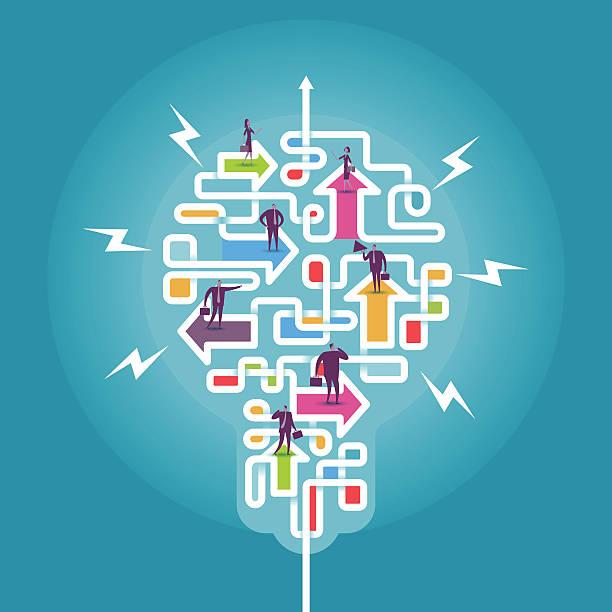 make different direction become idea - new work stock-grafiken, -clipart, -cartoons und -symbole