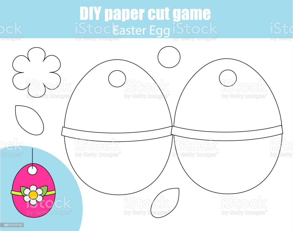 Machen Sie Osterei Mit Klebstoff Und Schere Papier Schneiden ...