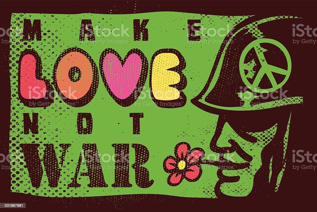 Make love not war, sixties hippie movement antiwar poster design vector art illustration