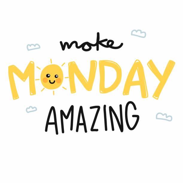 stockillustraties, clipart, cartoons en iconen met maandag geweldig schattige zon glimlach cartoon vectorillustratie maken - fresh start yellow