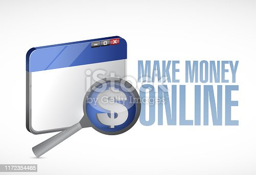Make money online browser illustration design over a white background