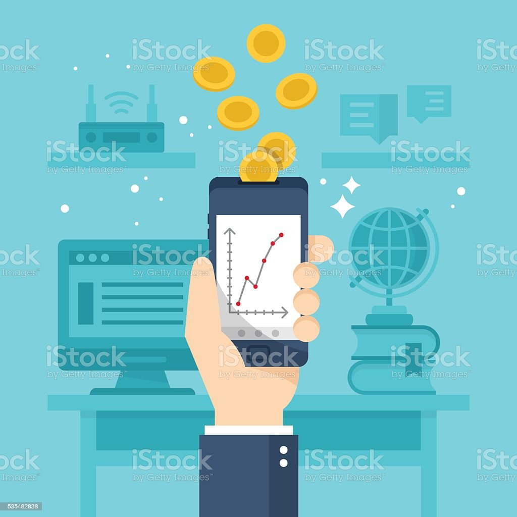 Make money online with smartphone concept. Flat stylish vector vector art illustration