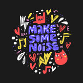 istock Make some noise hand drawn vector lettering. Scandinavian style music notes, heart and cat cartoon drawings on black background. Music festival, rock concert, musical poster design 1185317373