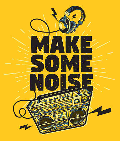 Make some noise musical design with boom box