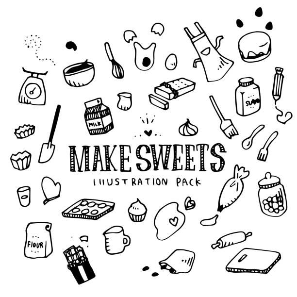 확인 과자 그림 팩 - baking stock illustrations