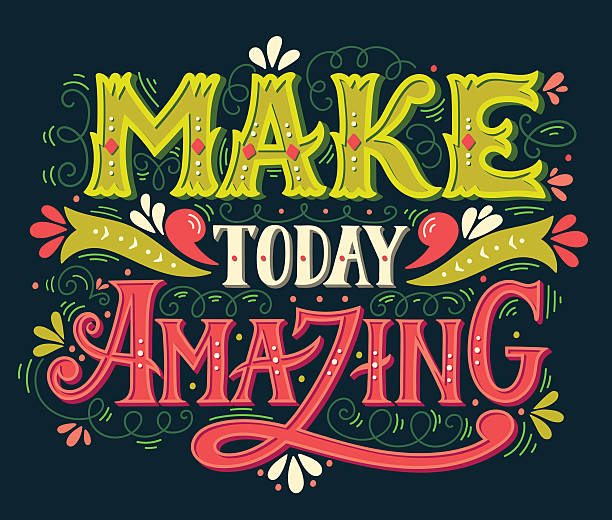 Make today amazing. Quote. Hand drawn vintage illustration with vector art illustration