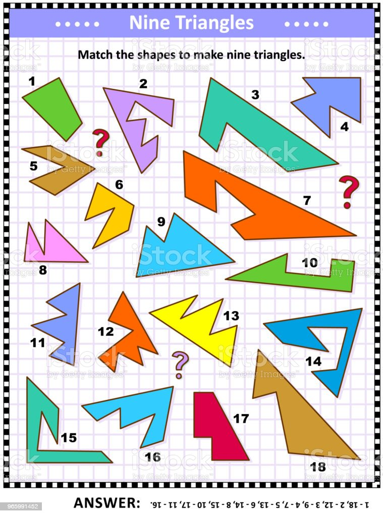 Make triangles math picture puzzle - Royalty-free Activity stock vector