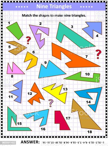 Make Triangles Math Picture Puzzle Stock Illustration - Download Image Now