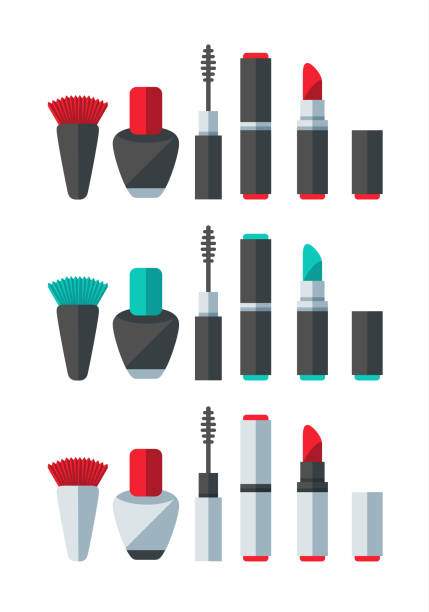 Make Up Accessories Set A set of flat design-styled make up accessories. EPS 10 file, layered & grouped,  lipstick stock illustrations