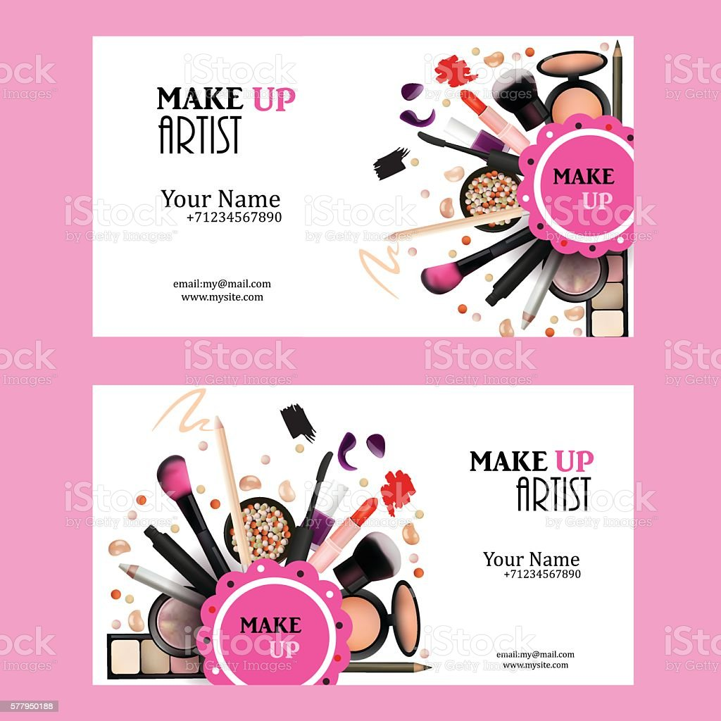 Make Up Artist Business Card Design Set Stock Vector Art & More ...