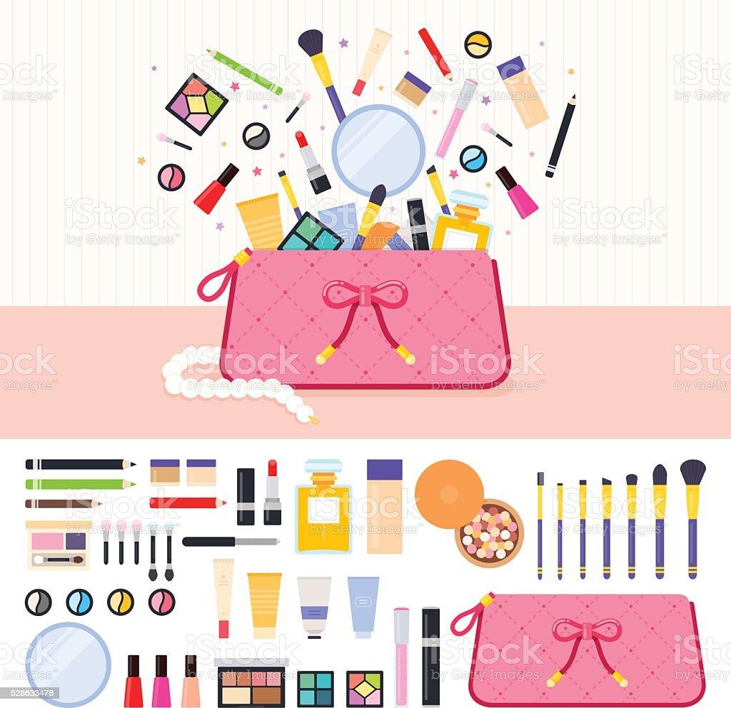 make up bag full of cosmetics stock vector art amp more