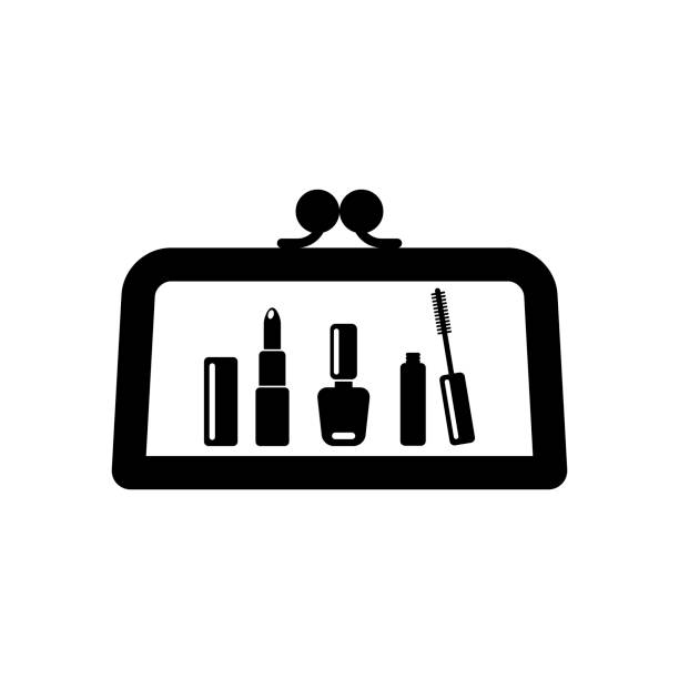 make up bag with cosmetics vector icon. ladies handbag icon. - błyszczyk stock illustrations