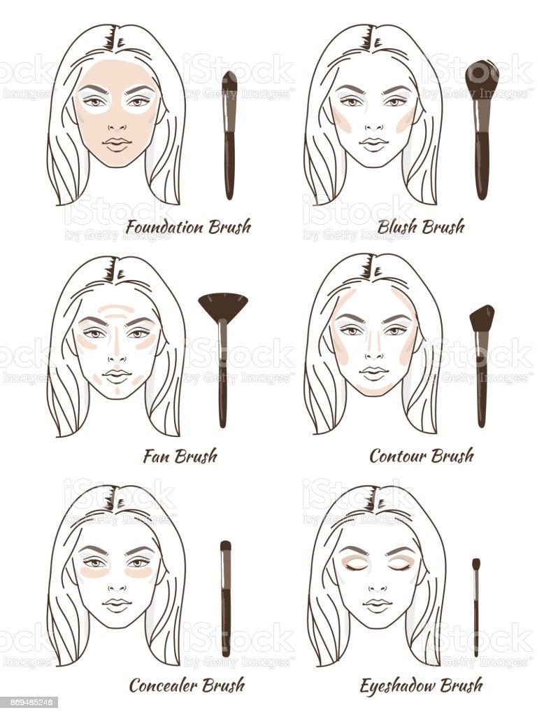 make up brush vector art illustration
