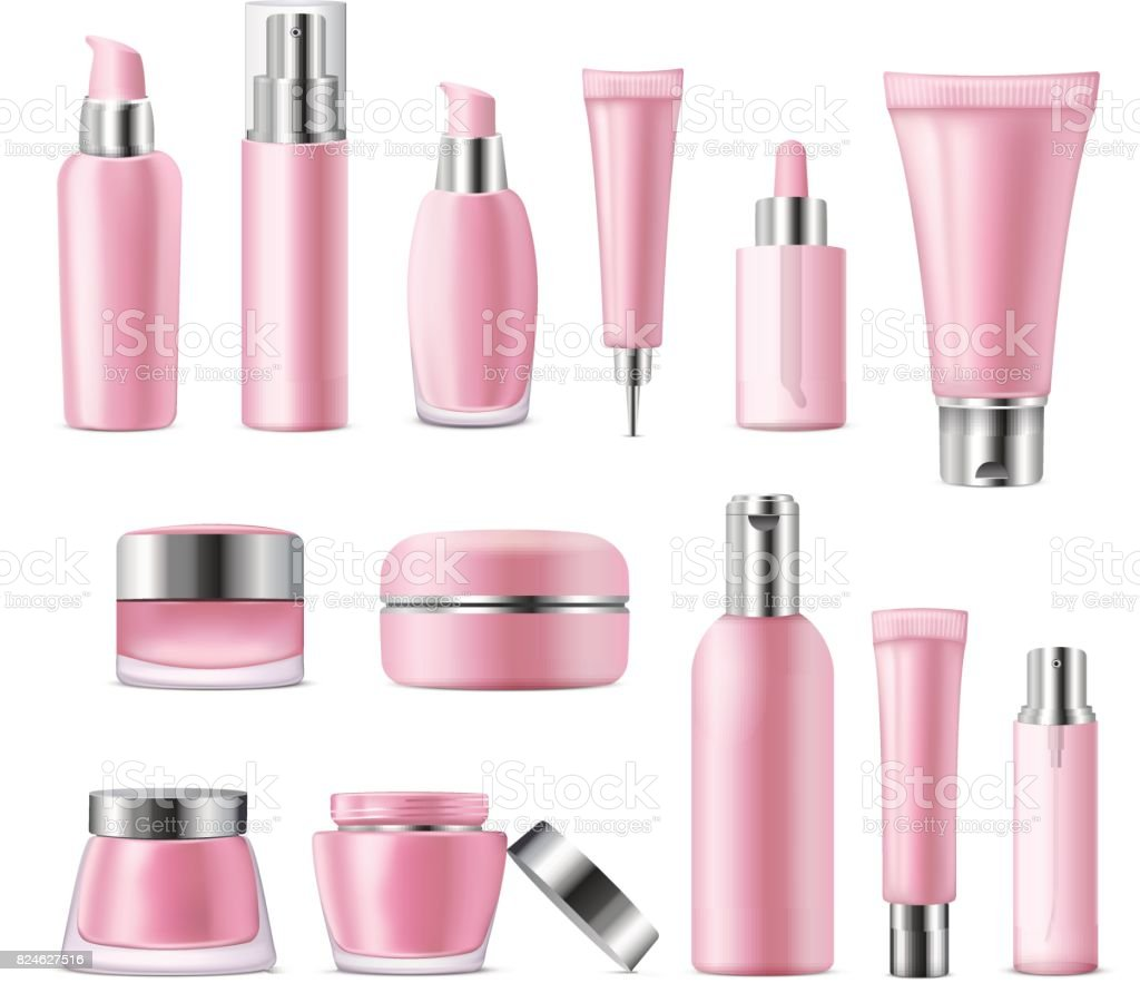 Make Up Empty Bottles Cosmetics Background Skincare Beauty Lifestyle Vector Illustration Eps 10 Stock Illustration Download Image Now Istock