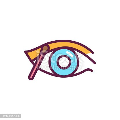 istock Make up eye color line icon. Professional visage. Beauty industry. Isolated vector element. Outline pictogram for web page, mobile app, promo. 1269857906