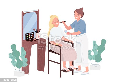 istock Make up flat color vector characters. Cosmetology treatment for young woman. Professional makeup artists. Stylist adviser. Visage instruction. Beauty salon procedure isolated cartoon illustration 1303675898