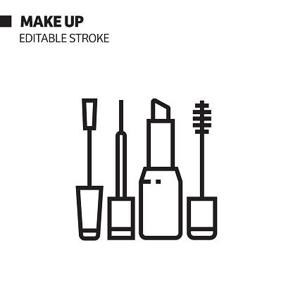 Make Up Line Icon, Outline Vector Symbol Illustration.