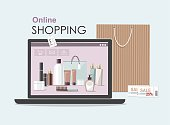 Make Up products on laptop  with cosmetic bag. Online shopping concept. Vector Illustration