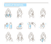 Facial make up removal concept. Line style vector illustration isolated on white background.