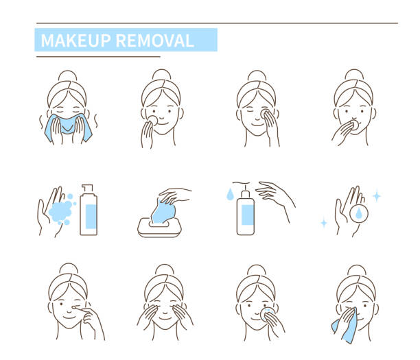 stockillustraties, clipart, cartoons en iconen met make-up verwijderen - skincare