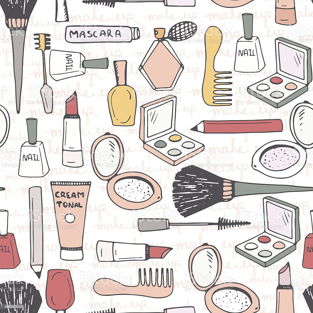 Hand drawn seamless pattern with different make up accessories - eye...