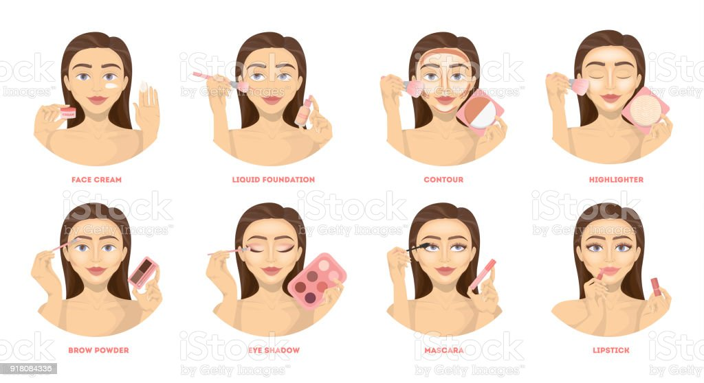 Make up set. vector art illustration