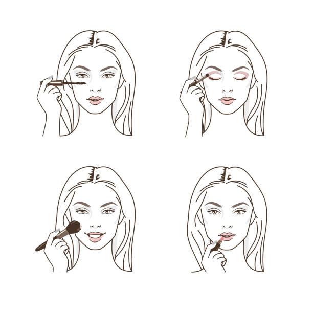 bildbanksillustrationer, clip art samt tecknat material och ikoner med göra upp - makeup artist