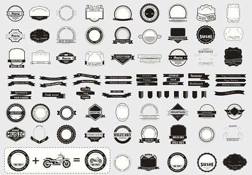 Make your labels or symbol concept set. Retro typography, badges, symbols, borders, ribbons, emblem, stamp, and objects. Vector design templates.